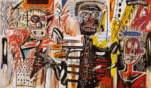 """Philistines,"" by Jean-Michel Basquiat. Alternate title: ""The Saudade Brothers."" L-R: Disko Baloba, Jesús Ibáñez, Diego El Moro."