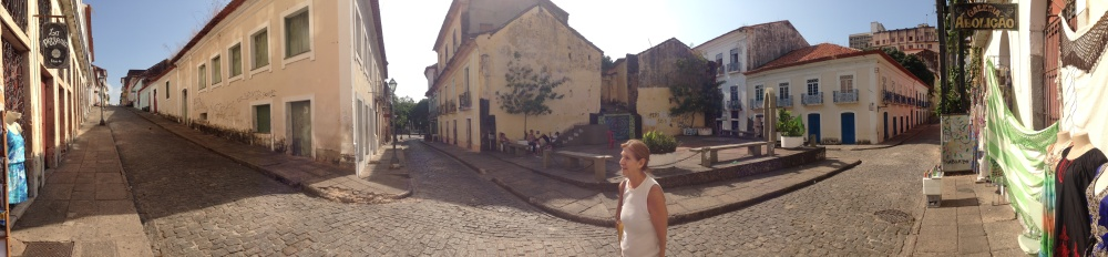 Wandering the empty historic streets of São Luís, Maranhão, with Celia.